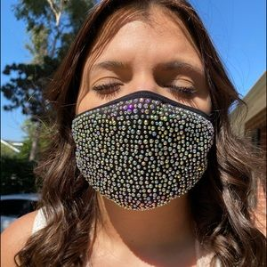 Blinged out face mask black with AB rhinestones